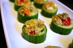Cucumber Rounds Stuffed with Quinoa and Vegetable Salad - Google Search