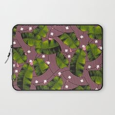 "Laptop Sleeves / Laptop Sleeve - 13"" and 15"" Season of Victory Summer Tropical Modern Palm Leaves With Pink Curves by Season Of Victory $28.80  plant, tropical, island, holiday, vacation, summer, leaf, leaves, green, pink, flower, spring, curves, modern, postmodern, memphis, memphisdesign, memphicmilano, design, curve, shape, geometric, palm, tropic, cool, flamingo, island, nature"