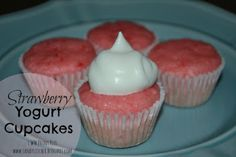 Strawberry Yogurt Cupcakes - 1 Weight Watchers points plus each. Delicious, Easy and only 3 ingredients!!