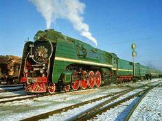 Soviet passenger train with P36 steam locomotive of the Trans-Siberian Railway