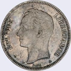 Pieza mv50cv-aa01 (Anverso). Moneda de Venezuela. 50 Centavos. Diseño A, Tipo A. Fecha 1873