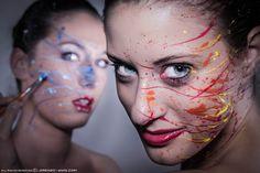 #Splattered #BodyPaint Hot & Cold Colors on face #PhotoShoot in Studio White dark background  #LSVstudio
