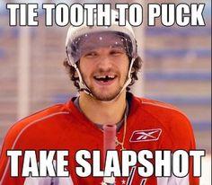 Tie Tooth To Puck…Shoot Slapshot Hockey Memes, Sports Memes, Funny Hockey, Hockey World, Washington Capitals, Ice Hockey, Nascar, Nhl, Teeth