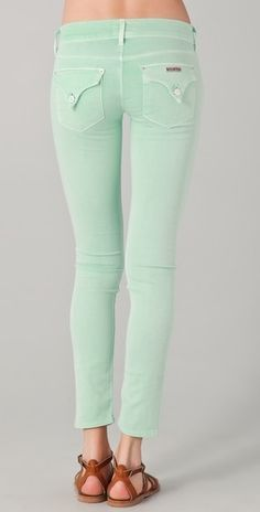 mint green hudson jeans, perfect for spring.
