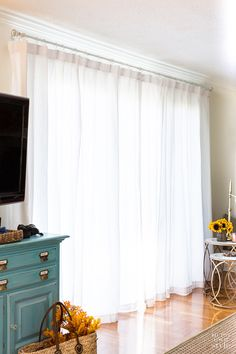 How Extra Wide Sliding Glass Door Drapes Look When Closed.