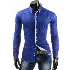 Bantning skjortkrage Trendig kontrastfärg knappslå Långärmade Polyester Män knapp-skjorta