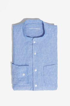Camisa de rayas con cuello mao - camisas | Adolfo Dominguez shop online