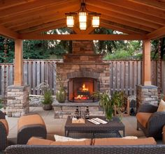 Image result for back patio with fireplace images