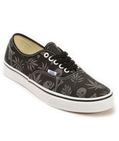 Vans Authentic Black Aloha Skate Shoes 1b4ea92e5