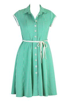 eShakti Women's Bubble knit sash tied shirtdress 3X-24W Short Mint/white size M/8 NEW $35 shipped