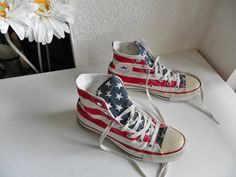 e9f9287089fff Chuck Taylor Converse Allstar Flag High Top Tennis Basketball shoes Red  White Blue Stars Stripes Men s 6 Women s 8 Patriotic Americana