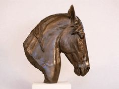 Horse Head Study III: A bronze resin horse head sculpture by Kate Woodlock