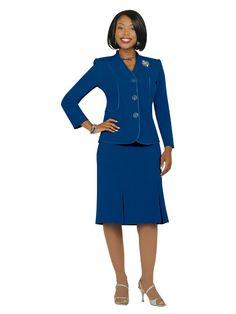a6f2f1f7ce4 Three Button Jacket Skirt Suit With Accent Piping. Usher Suits