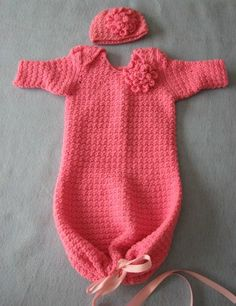 Crochet Pattern Pink Flower Infant Sweet Pea Outfit or Pajamas with Matching Hat