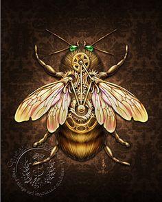 Steampunk Bee by brigidashwood, via Flickr.