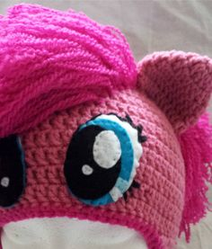 Pinkie Pie My Little Pony hat - I like the felt eyes vs crochet eyes