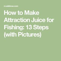 How to Make Attraction Juice for Fishing: 13 Steps (with Pictures)