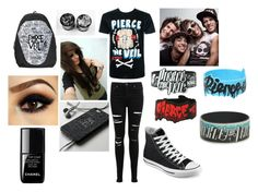 """""""Pierce the Veil <3"""" by sadiemay42 ❤ liked on Polyvore featuring moda, Miss Selfridge, Converse, Samsung y le top"""