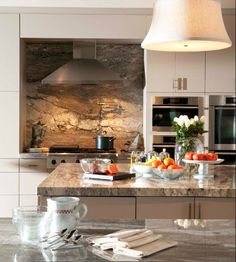 stone backsplashes for kitchens | ... kitchen. Basically, it is a cut of stainless sheet mounted on the back