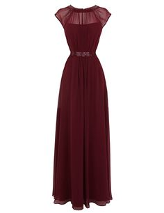 Tidetell Hot Sheer Bridesmaid Long Chiffon Cap Sleeves Prom Evening Dress Burgundy Size 10