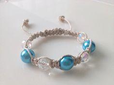 Shamballa Bracelet Island Getaway turquoise and crystal beads with seashells by TheBeautyandTheBead on Etsy, $15.00