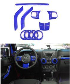 Amazon.com: E-cowlboy Full Set Interior Decoration Trim Kit--Steering Wheel Trim, Center Console Air Outlet Trim, Door Handle Cover Inner, Passenger Seat Handle Trim For Jeep Wrangler 2011-2016 2-door (Blue): Automotive