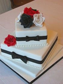 Awesome Pictures : Amazing Red, Black And White Wedding Cakes [27 Pic]