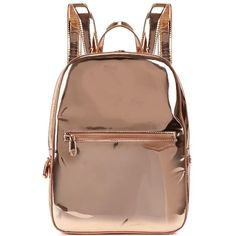 DKNY Rose Gold Leather Backpack ($110) ❤ liked on Polyvore featuring bags, backpacks, bolsas, accessories, fillers, leather rucksack, leather daypack, real leather backpack, zip bag and zipper bag