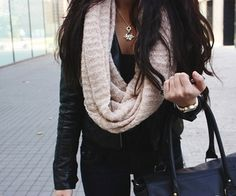Scarf with Black Leather Jacket.