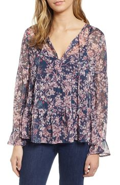 $35.73. LUCKY BRAND Top Bell Sleeve Printed Top #luckybrand #top #clothing Lucky Brand Tops, Printed Tees, Chiffon, Feminine, Nordstrom, Tunic Tops, Blouse, Sleeves, Clothes