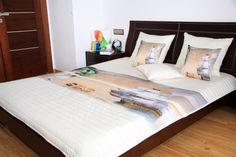 Biele detské prehozy na posteľ s plachetnicou a ostrovom