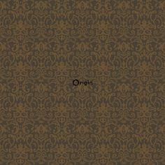 346537 zijdedruk vlies behang ornament bruin en brons