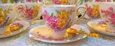 Exquisite vintage Taylor kent  tea set of 6 beautiful hand decorated duos