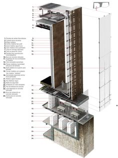 Primer Lugar en Concurso público del diseño de nueva cinemateca distrital de Bogotá / Colombia,Corte en fachada