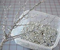 Winter Christmas glitter tree. Glitter, tree branch, modge podge. Diy decoration cheap