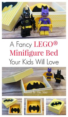 Tired of searching for lost LEGO Minifigures? Make them a bed, perfect LEGO storage solution for your child's favorite LEGO Minifigure. Easy Crafts For Kids, Toddler Crafts, Fun Crafts, Kids Diy, Lego Party Favors, Lego Birthday Party, Birthday Parties, Lego Projects, Projects For Kids