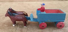 Horse and cart Erzebirge Putz Seiffen Germany miniature wood vintage toy penny