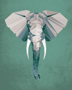 Elephant, Geometric, Poly, Polygon, Poster, Art, Illustration, Safari, Africa, Kid Nursery, Jungle, Shapes, Green, Home Decor [NO 001] by IronBrothers17 on Etsy