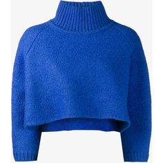 Vika Gazinskaya cropped jumper found on Polyvore featuring tops, sweaters, blue, cropped sweater, blue crop top, blue sweater, oversize sweater and oversized turtleneck sweater