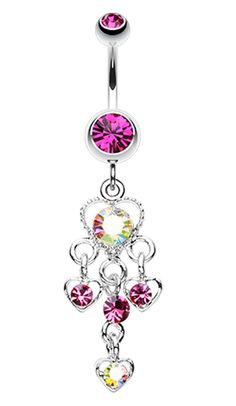 Sparkle Multi Heart Belly Button Ring - 14 GA (1.6mm) - Fuchsia/Aurora Borealis - Sold Individually