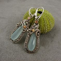 RESERVED Wire wrapped earring long earring by MadeBySunflower