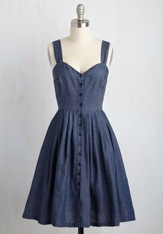 Rover the River Dress. Treading barefoot along the waterway, you bank your lucky stars that you wore this chambray dress - arriving at ModCloth in July - for the occasion. #blue #modcloth