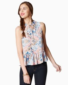 ed451adf5e Charming charlie Floral Ruffle Peplum Top Plus Size Outfits, Dream Closets,  Peplum, Ruffles