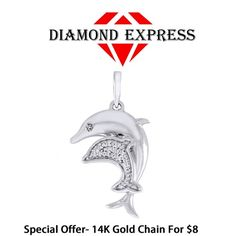 "14K Gold Round Brilliant Cut Dolphin Mom & Child Pendant Without Chain ""Mother's Day Gift"". Starting at $1"