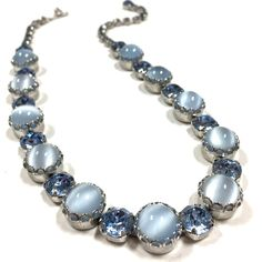 Vintage High End Moonglow Cabochon & Lg Blue Rhinestone Necklace Silver #choker #DellaGraces Vintage Jewelry on Ebay