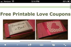 Free printable love coupons cute for a Mother's Day gift or for a boyfriend/girlfriend :)  http://www.homemade-gifts-made-easy.com/free-printable-love-coupons.html