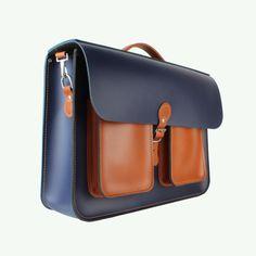 湖蓝色和伦敦谭双口袋小皮包16.5英寸|的小皮包公司