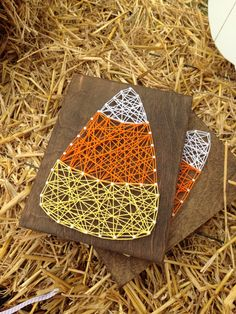 Candy corn string art, fall decor, candy corn decor, thanksgiving decor, - pinned by pin4etsy.com
