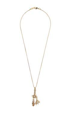 Gold Coral Shaped Charm Necklace - Oscar de la Renta Resort 2016 - Preorder now on Moda Operandi