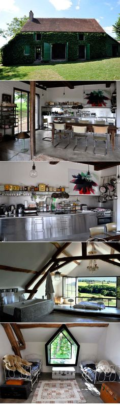 Farmhouse in Bourgogne, France by Joséphine Gintzburger. Strong modern elements juxtaposed with bucolic history. Rough luxe meets Parisian flair. ( http://www.desiretoinspire.net/blog/2012/3/5/lidylle-rustique.html )